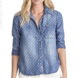 Cloth & Stone Chambray Printed Top Size XS